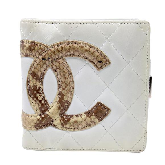 Chanel Handbags - Cambon Quilted Ligne Python CC Compact French Wall